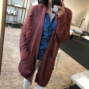 d4e02aacb18 WonderlustApparel · KRISTINE Mauve Distressed Knit Cardigan
